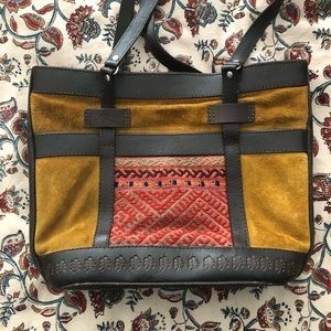 Beautiful Bolivian Leather/Suede/Textile Purse